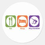 Eat Sleep Play Paintball Etiquetas Redondas