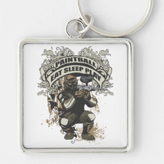 Eat, Sleep, Play Paintball Silver-Colored Square Keychain