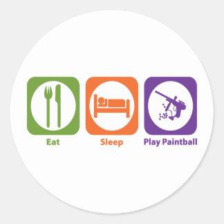 Eat Sleep Play Paintball Pegatina Redonda