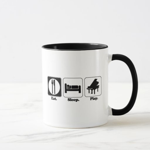 eat sleep play piano mug