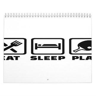 Eat Sleep Play Ping Pong Wall Calendar