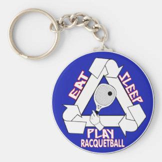 Eat Sleep Play Racquet Ball Keychain