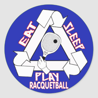 EAT, SLEEP, PLAY RACQUETBALL - REPEAT CLASSIC ROUND STICKER