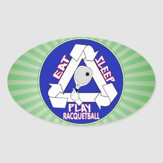 EAT, SLEEP, PLAY RACQUETBALL - REPEAT OVAL STICKER