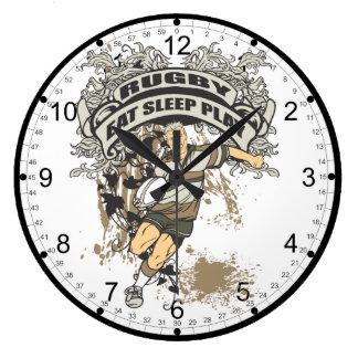 Eat, Sleep Play Rugby Large Clock