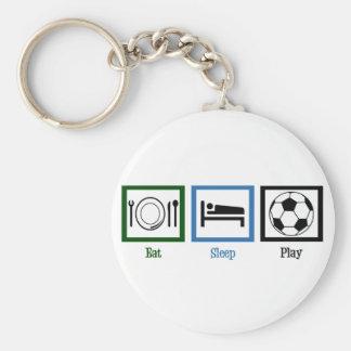 Eat Sleep Play Soccer Basic Round Button Keychain