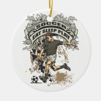 Eat, Sleep, Play Soccer Ceramic Ornament