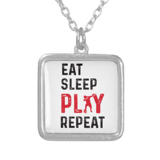 Eat Sleep Play Soccer Cool Player Dab Silver Plated Necklace