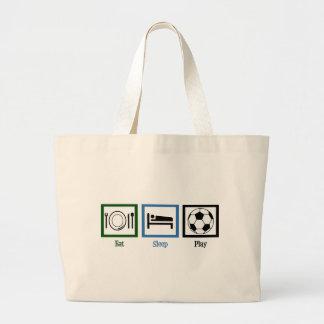 Eat Sleep Play Soccer Large Tote Bag