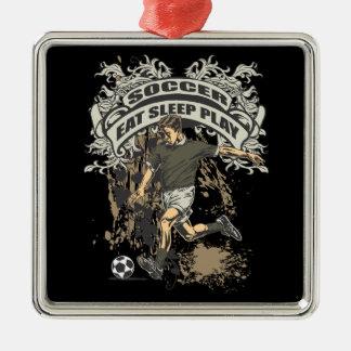 Eat, Sleep, Play Soccer Metal Ornament