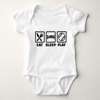 Eat sleep play Softball Baby Bodysuit