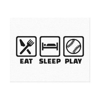 Eat sleep play Softball Canvas Print