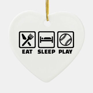 Eat sleep play Softball Ceramic Ornament
