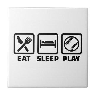 Eat sleep play Softball Ceramic Tile