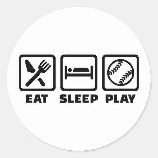 Eat sleep play Softball Classic Round Sticker