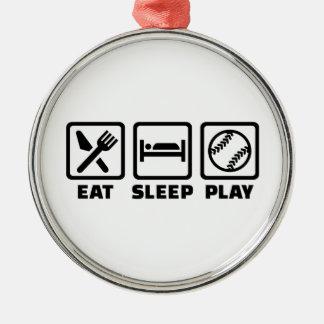 Eat sleep play Softball Metal Ornament