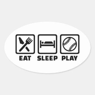 Eat sleep play Softball Oval Sticker