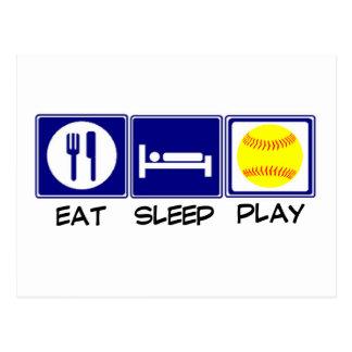 Eat, Sleep, Play Softball Postcard