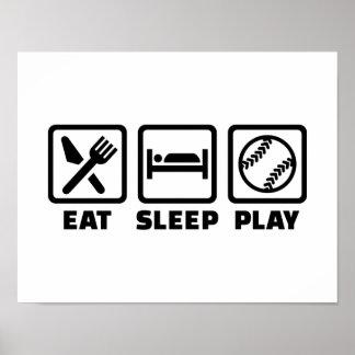 Eat sleep play Softball Poster
