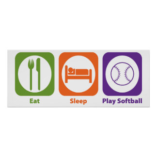 Eat Sleep Play Softball Print