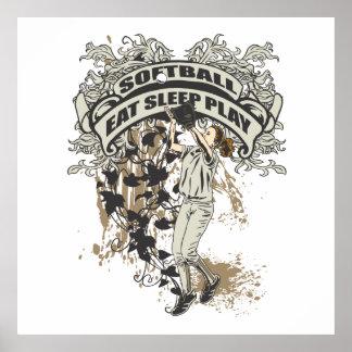 Eat, Sleep, Play Softball Print