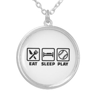 Eat sleep play Softball Silver Plated Necklace