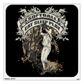 Eat, Sleep, Play Softball Wall Stickers