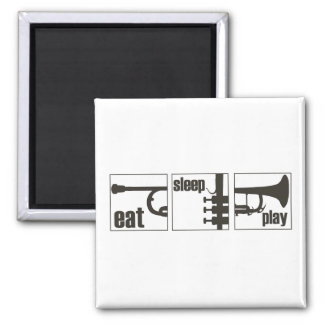 Eat. Sleep. Play. Trumpet 2 Inch Square Magnet