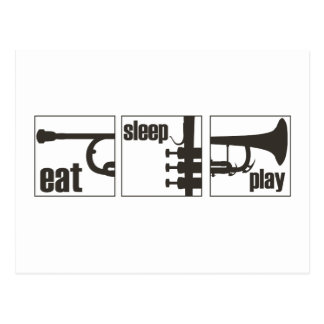 Eat. Sleep. Play. Trumpet Postcard