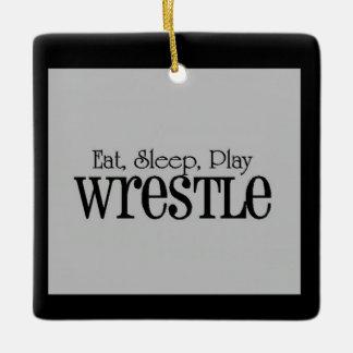 Eat, Sleep, Play, Wrestle Christmas Ornament
