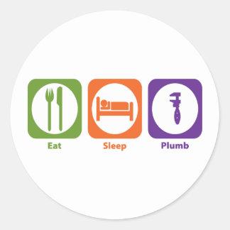 Eat Sleep Plumb Round Sticker