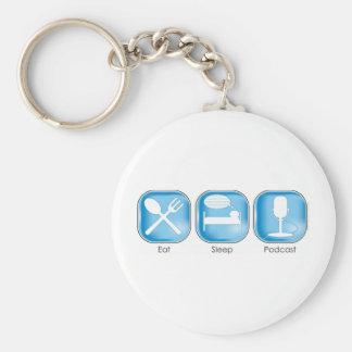 Eat Sleep Podcast Keychains
