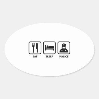 Eat Sleep Police Oval Sticker