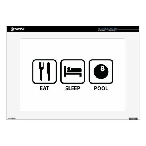 """Eat Sleep Pool 15"""" Laptop Skin"""