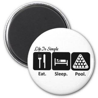 Eat, Sleep, Pool 2 Inch Round Magnet
