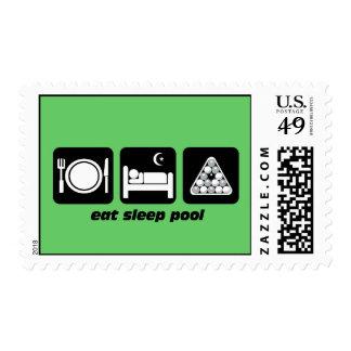 eat sleep pool postage stamp