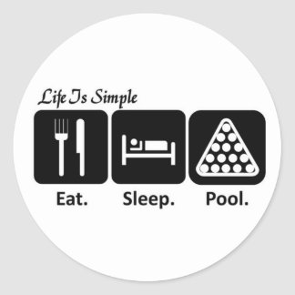 Eat, Sleep, Pool Classic Round Sticker