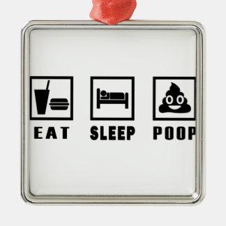 EAT SLEEP POOP METAL ORNAMENT