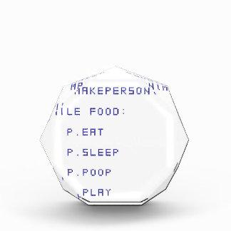eat sleep poop play acrylic award