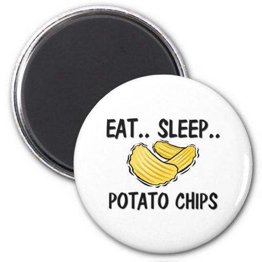 Eat Sleep POTATO CHIPS 2 Inch Round Magnet