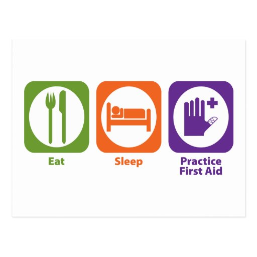 Eat Sleep Practice First Aid Post Cards