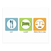 Eat sleep, practice law postcard