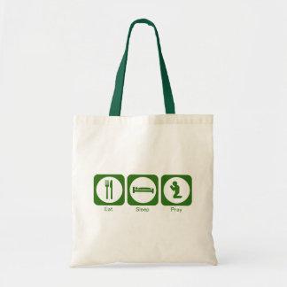 Eat sleep pray green tote bag