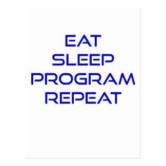 Eat Sleep Program Repeat Postcard