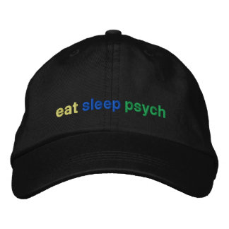 eat, sleep, psych embroidered hats