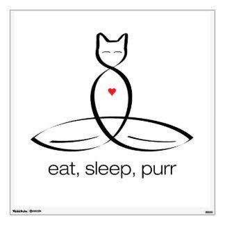 Eat Sleep Purr - Regular style text. Wall Decal