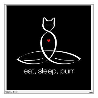 Eat Sleep Purr - Regular style text. Wall Sticker
