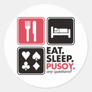 Eat Sleep Pusoy Classic Round Sticker