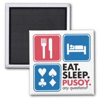 Eat Sleep Pusoy - Red Blue 2 Inch Square Magnet