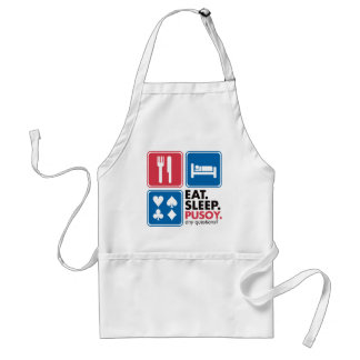 Eat Sleep Pusoy - Red Blue Adult Apron